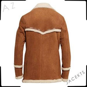 Colin Firth brown shearling coat