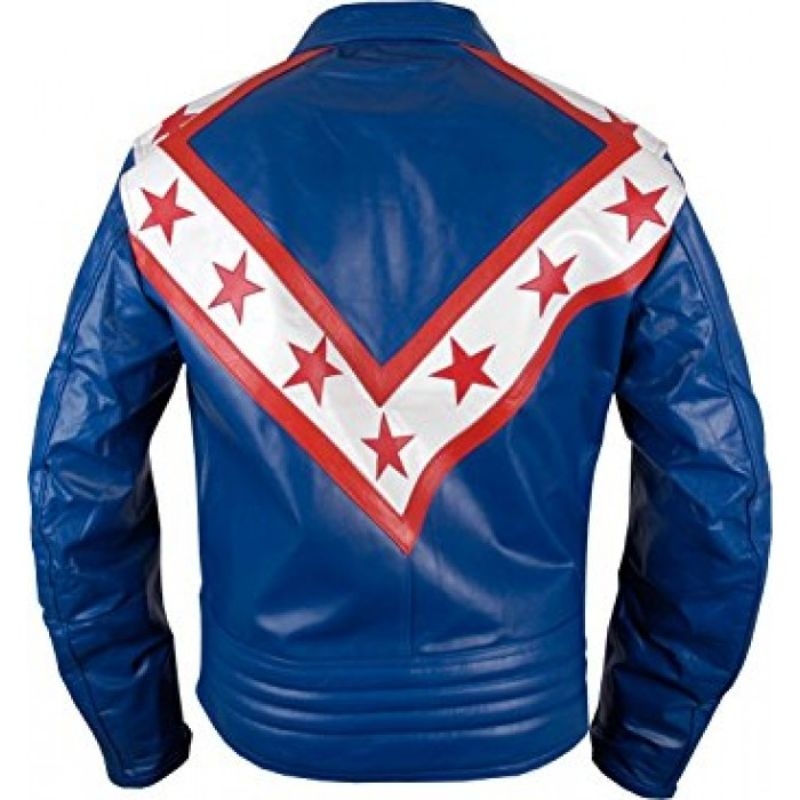 Evel Knievel Tribute Blue Leather Jacket