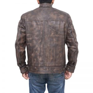 Lucas Till MacGyver Brown Distressed Leather Jacket