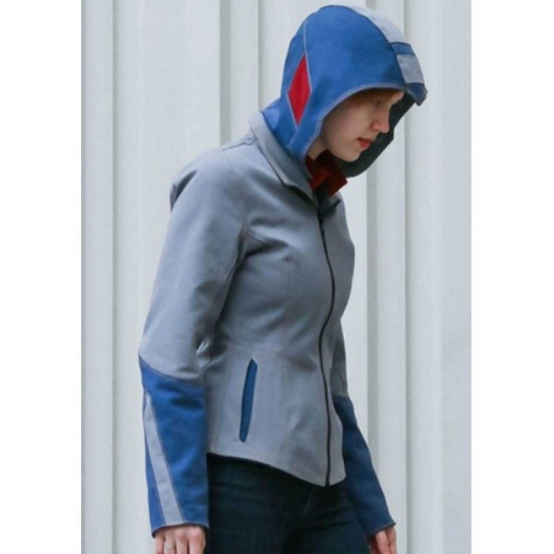 Mega Man Blue Leather Hoodie Jacket