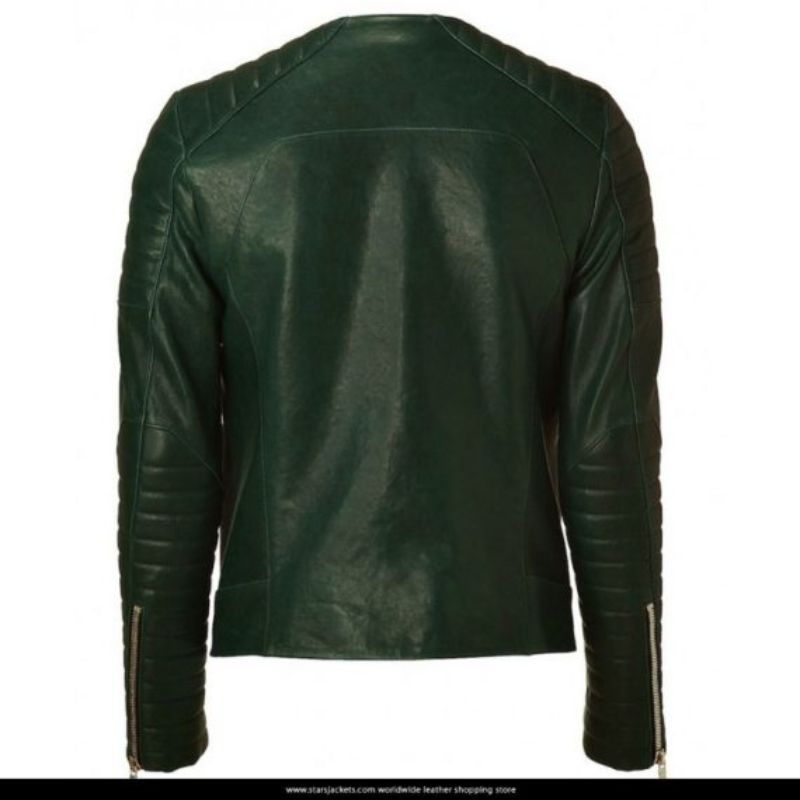 Kid Cudi Collarless Dark Green Quilted Biker Jacket