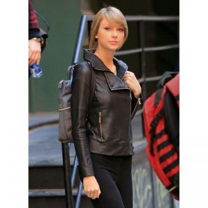 Taylor Swift Black Biker Leather Jacket