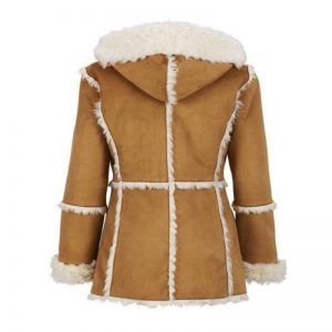 Womens Brown Faux Fur Suede Overcoat With Hood