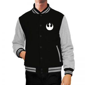 Star Wars Rebel Black and Grey Letterman Jacket