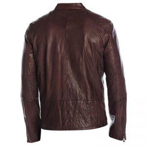 Cafe Racer Maroon Leather Jacket