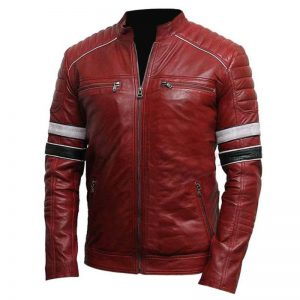 Striped Café Racer Leather Jacket