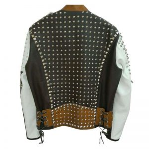 Mens Cafe Racer Studded Leather Jacket