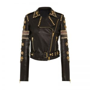 Black & Golden Embroidered Leather Jacket