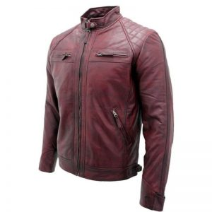 Distressed Burgundy Café Racer Leather Jacket