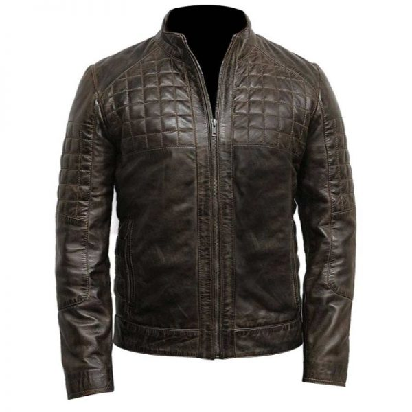 Mens Quilted Design Brown Café Racer Jacket