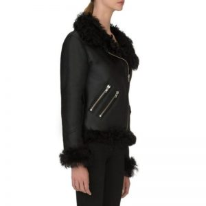Women Biker Shearling Leather Jacket